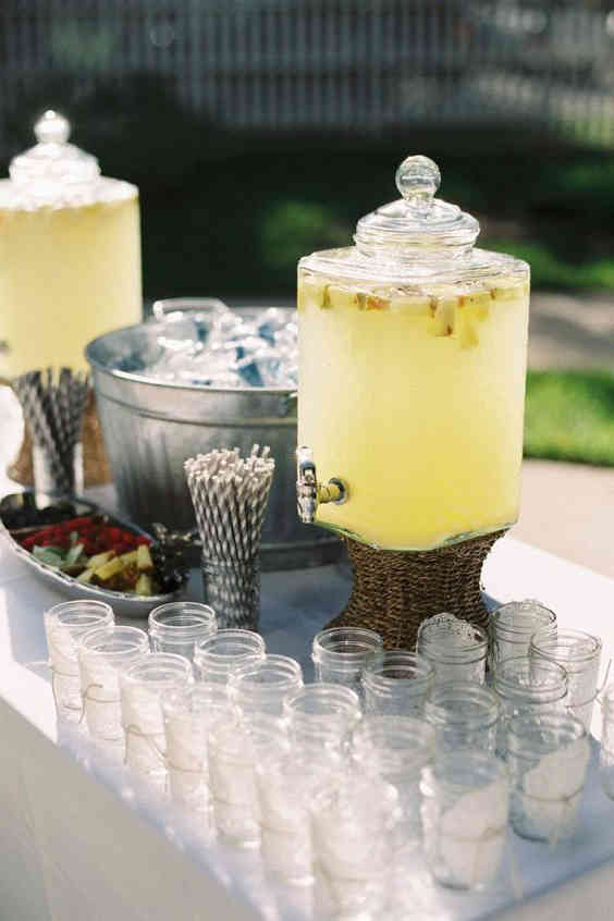 Colorful drinks for a wedding