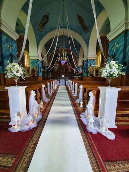 The interior of the church for the wedding