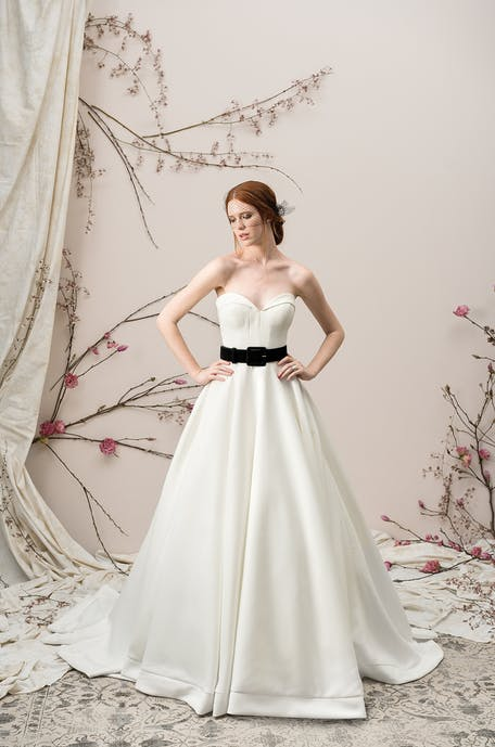wedding dress with black accent