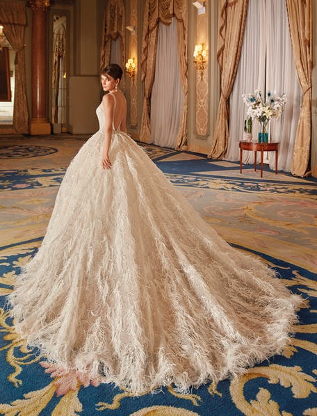 wedding dresses with feathers on bottom