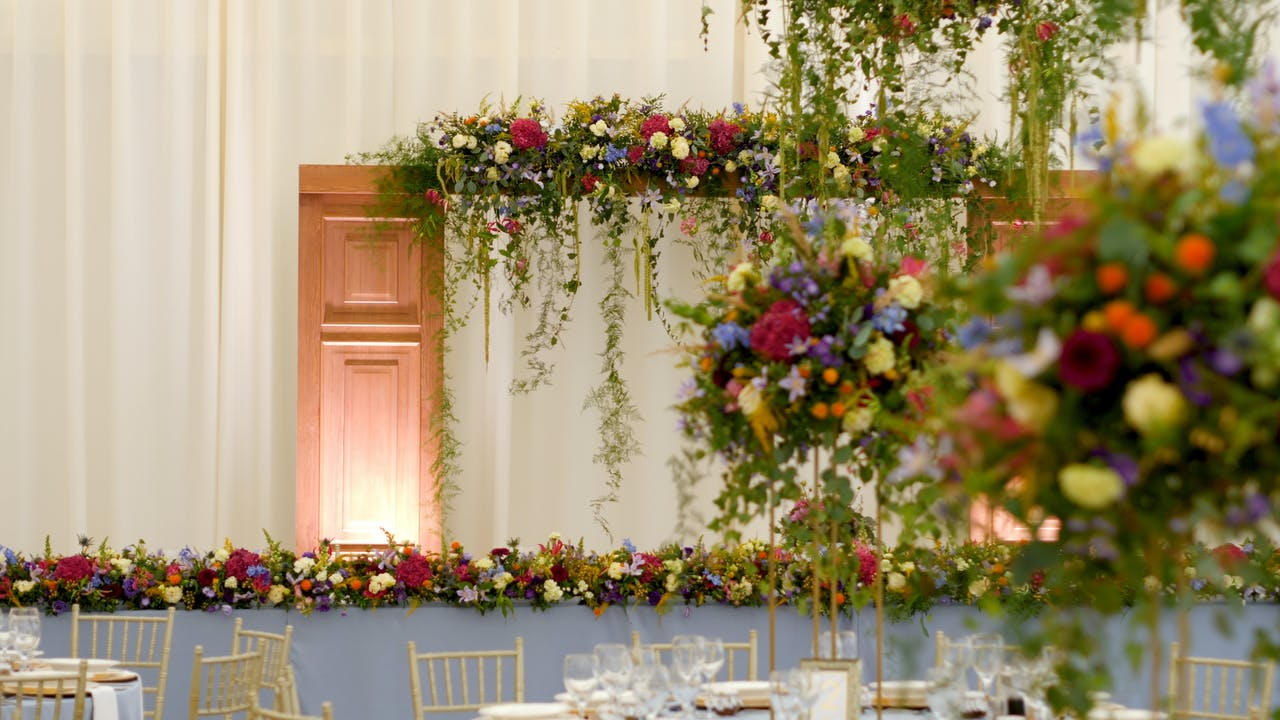 Wedding hall decorations with flowers